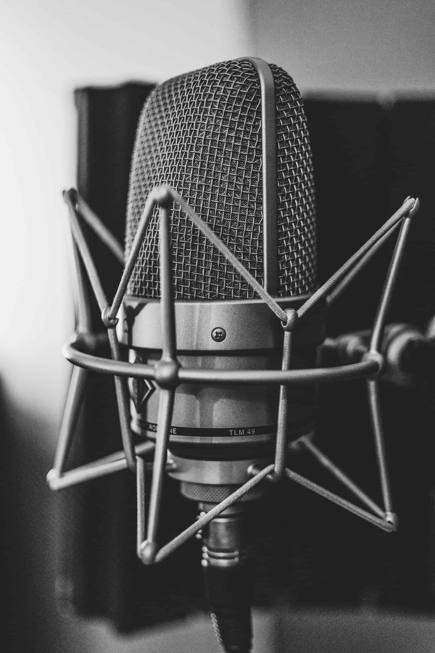 grayscale photography of microphone